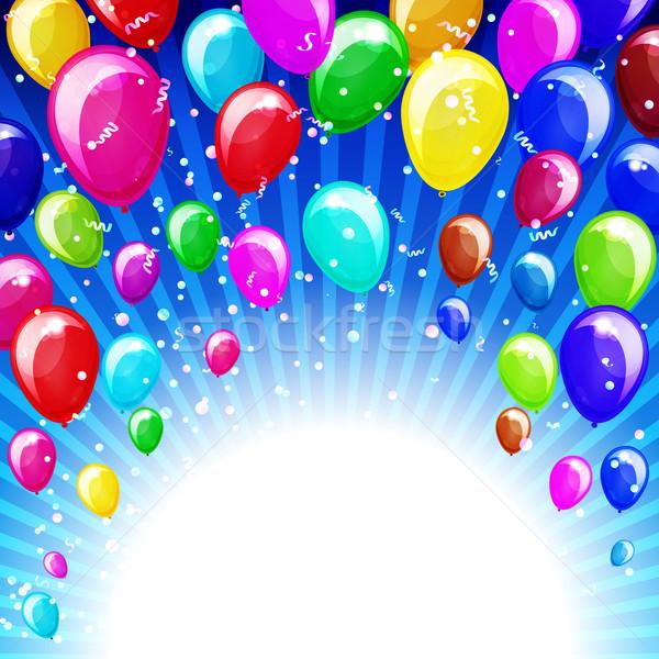 Holiday background with balloons and confetti. Stock photo © OlgaYakovenko