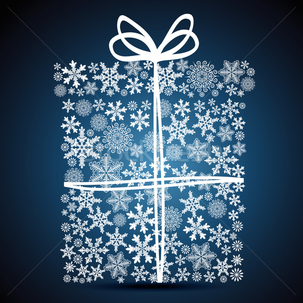 Christmas gift box, snowflake design background. Stock photo © OlgaYakovenko
