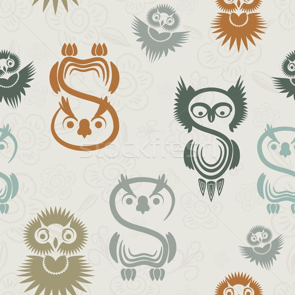 Végtelen minta különböző baglyok semleges papír textúra Stock fotó © OlgaYakovenko