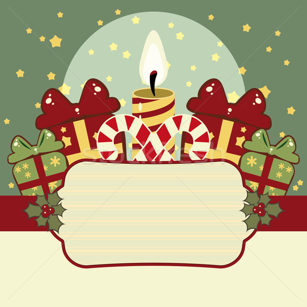 Retro Christmas background with candles, gifts and banner Stock photo © OlgaYakovenko