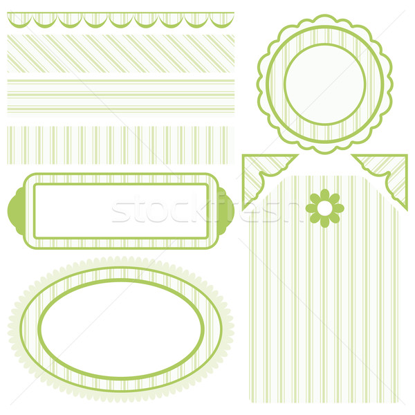 Image of Set of elements for design. Motive of green band. Stock photo © OlgaYakovenko