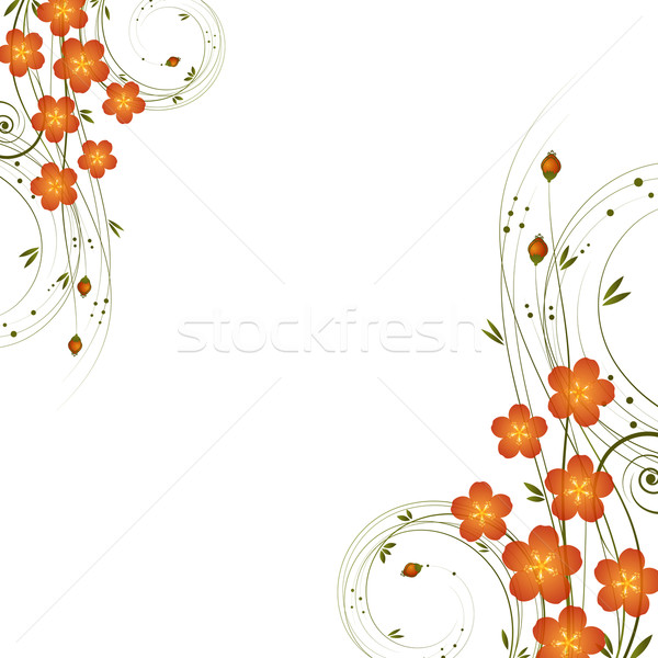 abstract background with curl and flowers. Stock photo © OlgaYakovenko