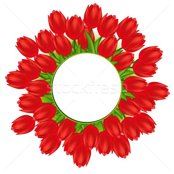 Ilustración rojo tulipanes flores primavera naturaleza Foto stock © OlgaYakovenko