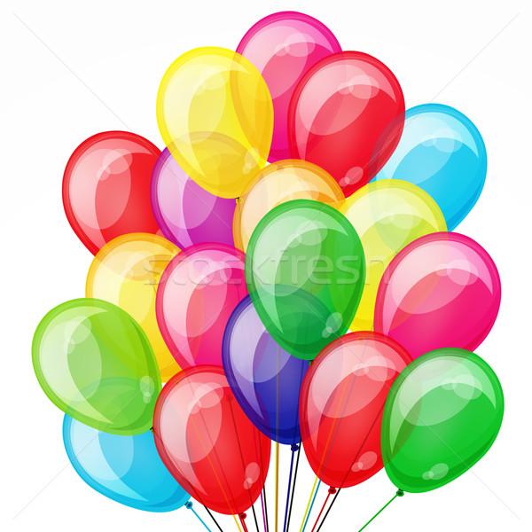 Party multicolore trasparente palloncini compleanno web Foto d'archivio © OlgaYakovenko