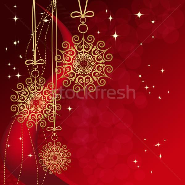 Red card with christmas snowflakes, vector illustration  Stock photo © OlgaYakovenko