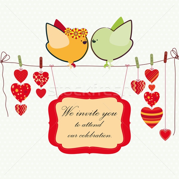Invitation background. Couple of birdies, hearts on the clothespin and a banner for your text. Stock photo © OlgaYakovenko
