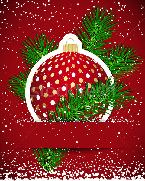 Christmas background. Wticker ball and tree branch inserted into Stock photo © OlgaYakovenko