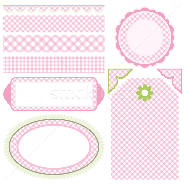 Image of Set of elements for design. Motive of pink cell. Stock photo © OlgaYakovenko