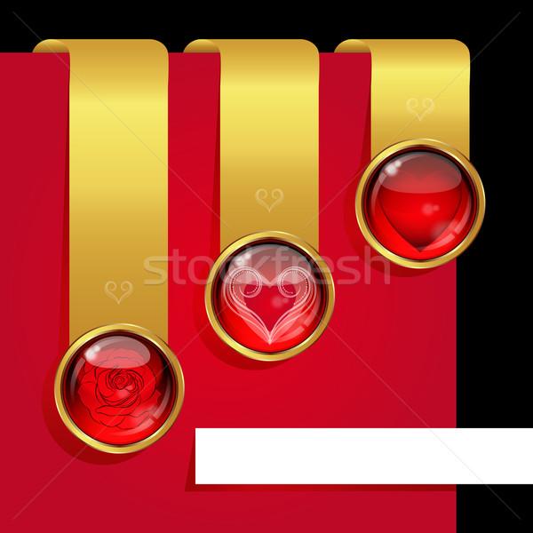Zestaw elementy miłości symbolizm wzrosła Zdjęcia stock © OlgaYakovenko