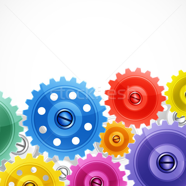 Techno background with colorful gears.  Stock photo © OlgaYakovenko