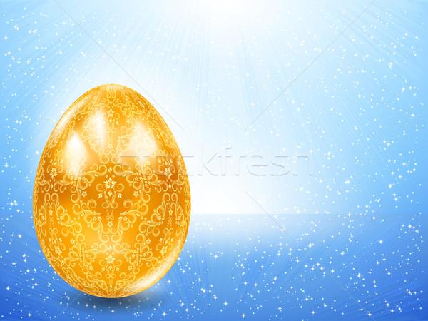 Złote jajka niebieski promienie ceny żywności streszczenie Zdjęcia stock © OlgaYakovenko