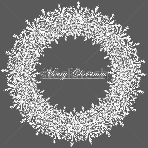 Zdjęcia stock: Czarno · białe · christmas · ramki · ilustracja · streszczenie · śniegu