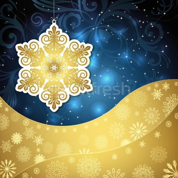Złoty płatki śniegu mroźny wzorców ciemne niebieski Zdjęcia stock © OlgaYakovenko