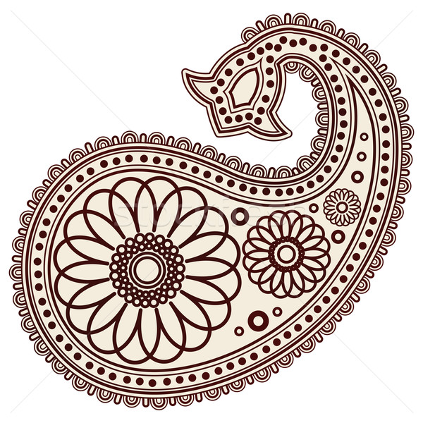 Vector Hand-Drawn Abstract Henna (mehndi) Paisley Doodle Vector Illustration Design Elements. Stock photo © OlgaYakovenko