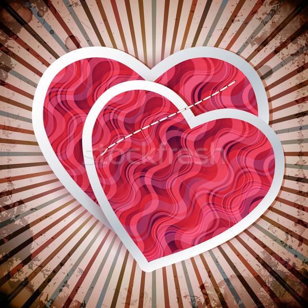 Stok fotoğraf: Iki · kâğıt · kartpostal · sevgililer · günü · vektör · mutlu