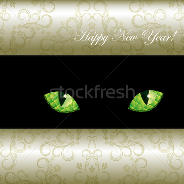 Festive background with curious emerald eyes of a cat. Vector il Stock photo © OlgaYakovenko