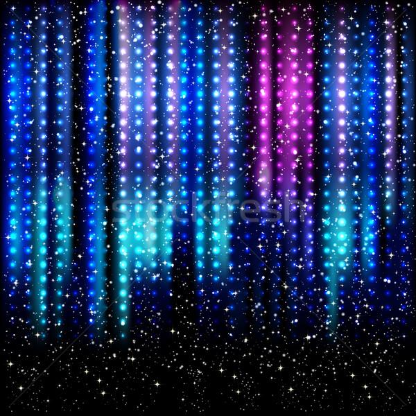 縞模様の パーティ フレーム 青 星 ライト ストックフォト © OlgaYakovenko