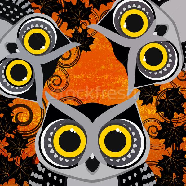 Halloween uilen boom gezicht gelukkig bos Stockfoto © OlgaYakovenko