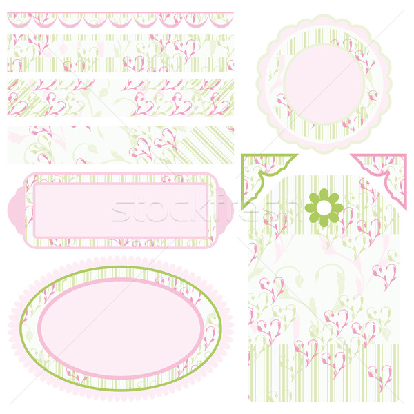 Image of Set of elements for design. Motive of hearts and stripes. Stock photo © OlgaYakovenko