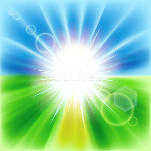 Summer abstract background with sunbeams. Vector illustration.  Stock photo © OlgaYakovenko