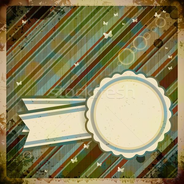 Abstrato retro etiqueta papel livro borboleta Foto stock © OlgaYakovenko