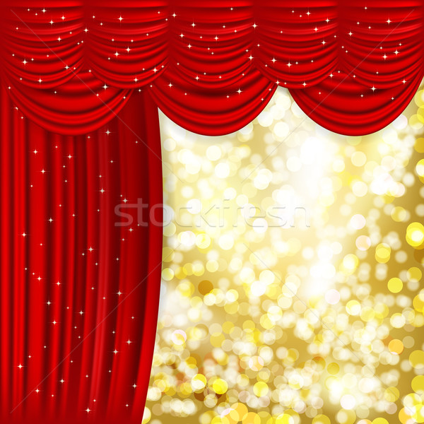 Stock photo: Holiday background with red satin and golden light.