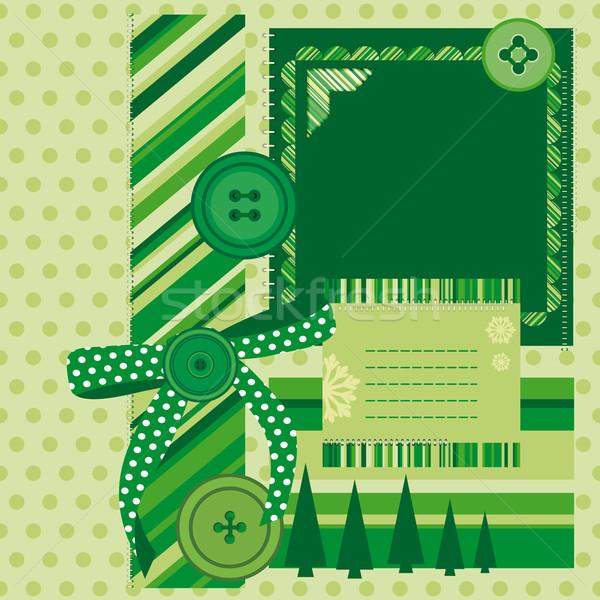 Groene pagina foto's traditioneel plakboek ontwerp Stockfoto © OlgaYakovenko