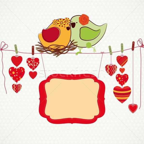 Casal corações prendedor de roupa bandeira flor feliz Foto stock © OlgaYakovenko