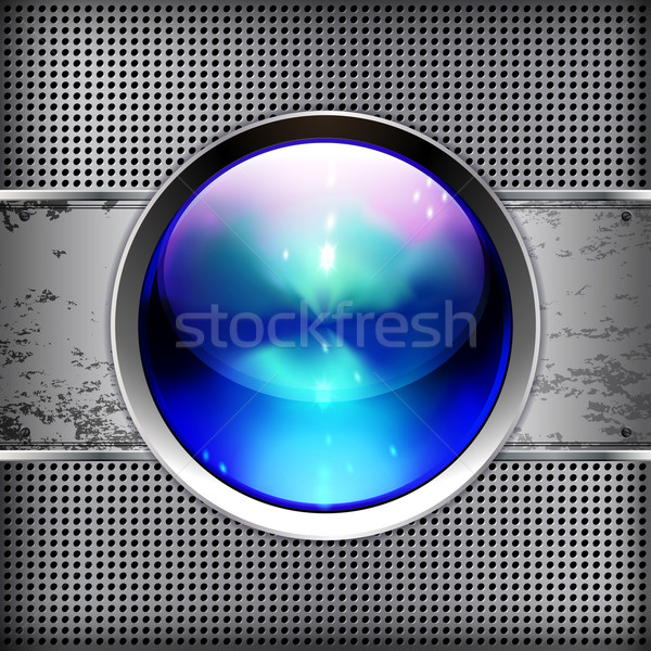 Techno background with glossy button. Metal banner with huge spa Stock photo © OlgaYakovenko