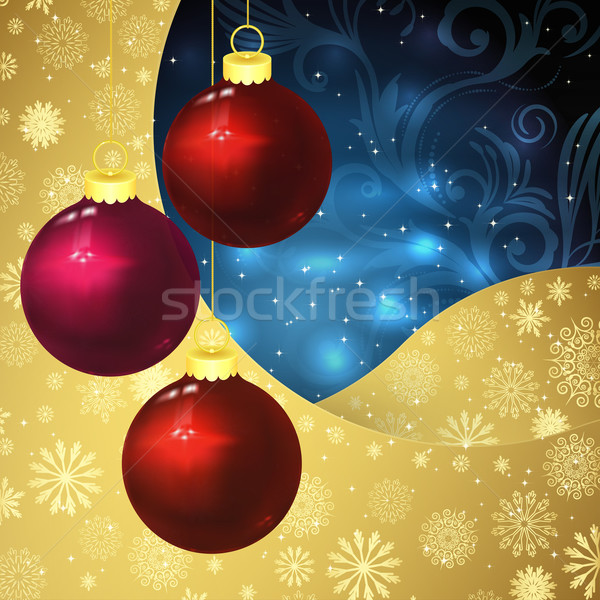 Glass balls, golden snowflakes and frosty patterns on a dark blu Stock photo © OlgaYakovenko