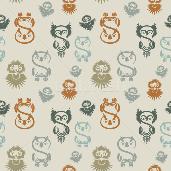 Seamless pattern with various owls on a neutral background. Stock photo © OlgaYakovenko