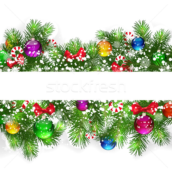 Christmas background with snow-covered branches Stock photo © OlgaYakovenko