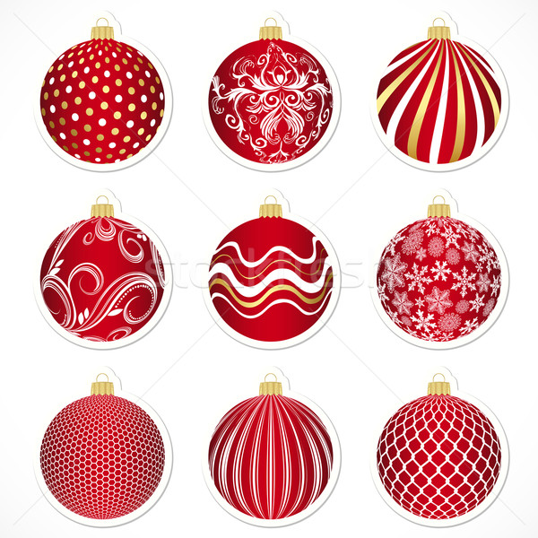 Stock photo: Vector Christmas tags for christmas balls or stickers