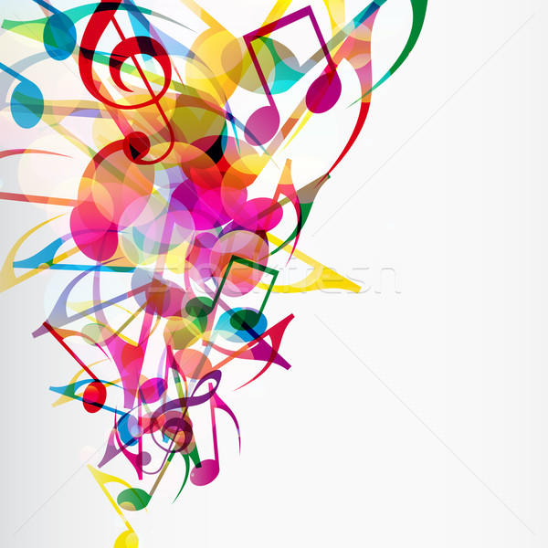 Stock photo: Abstract musical background with bright flying up notes and othe