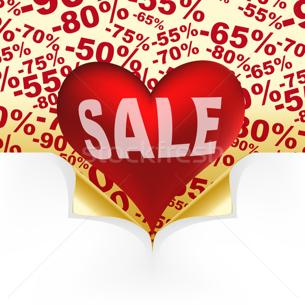 Red heart white text sale under curled gold corners Stock photo © OlgaYakovenko