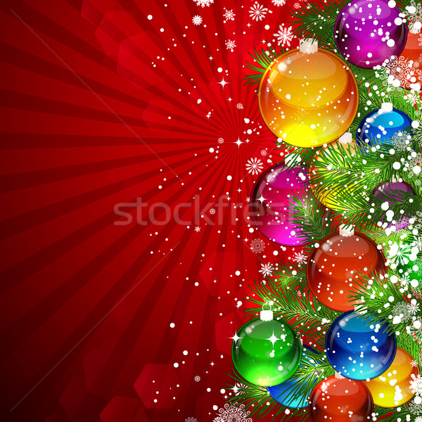 Christmas background with snow-covered Christmas tree decorated  Stock photo © OlgaYakovenko