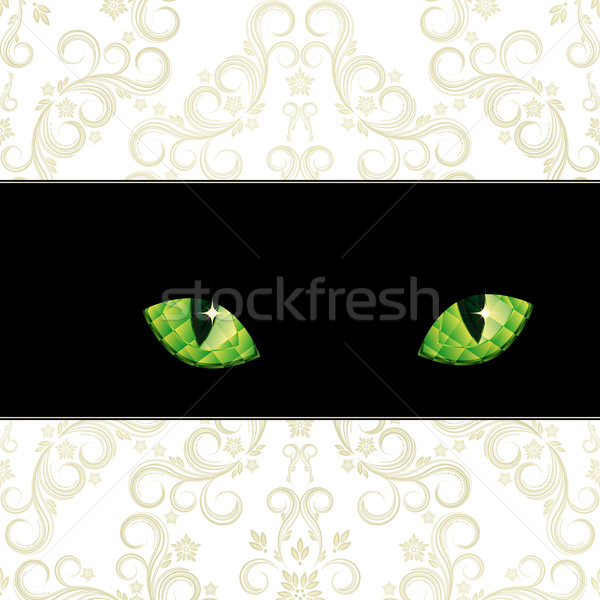 好奇心の強い エメラルド 目 猫 花 ストックフォト © OlgaYakovenko