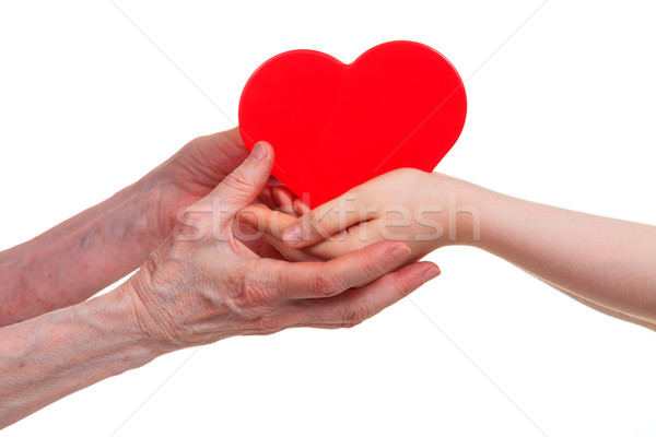 Old and young hands holding red heart, isolated on a white  Stock photo © OlgaYakovenko