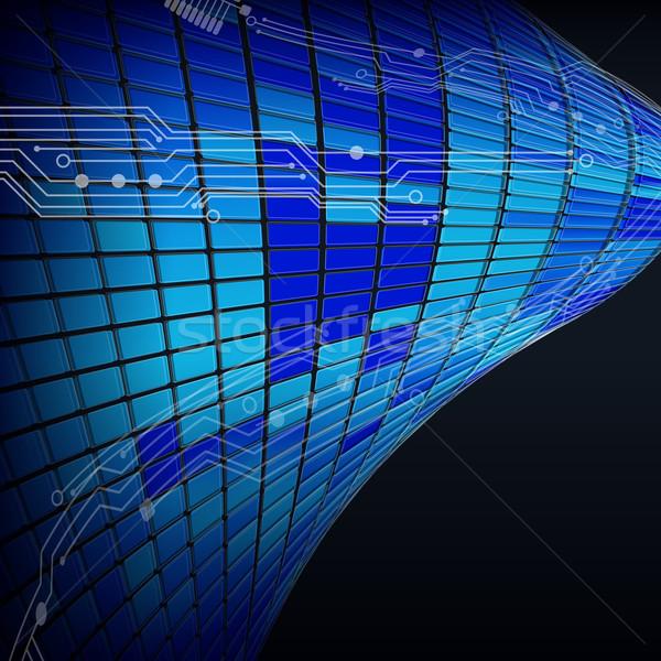 Absztrakt techno vonal textúra űr kék Stock fotó © OlgaYakovenko