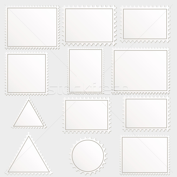 Vector big set of blank postage stamps different geometric shape Stock photo © OlgaYakovenko
