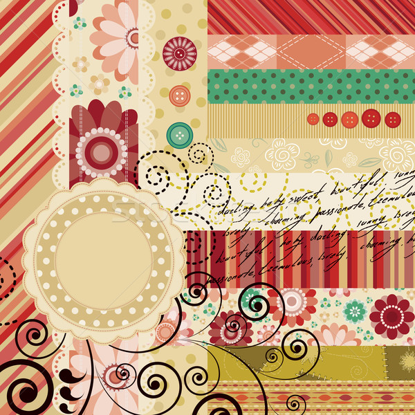 Scrap background made in the classic patchwork technique with floral stamps and handwriting text. Stock photo © OlgaYakovenko
