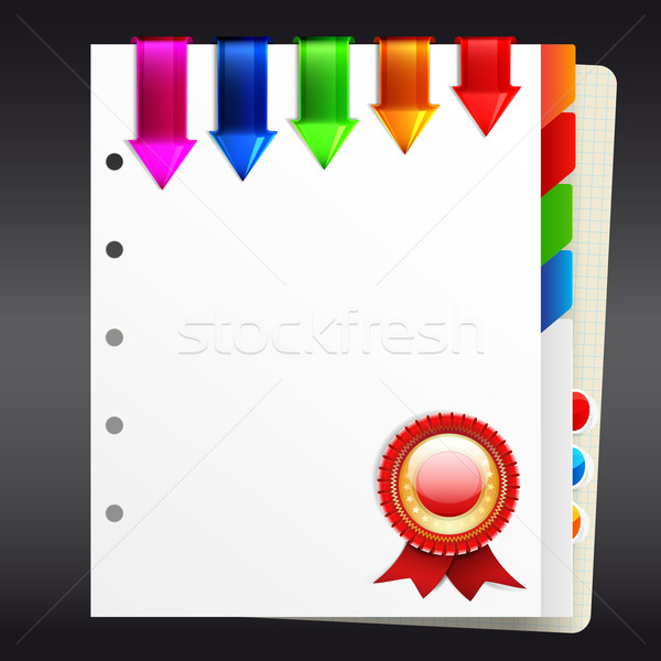 Notebook with bookmarks and certificate seal | EPS10 Vector Illu Stock photo © OlgaYakovenko