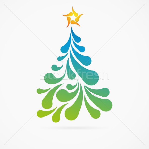 Christmas tree made of colorful arc drops. Decorative background Stock photo © OlgaYakovenko