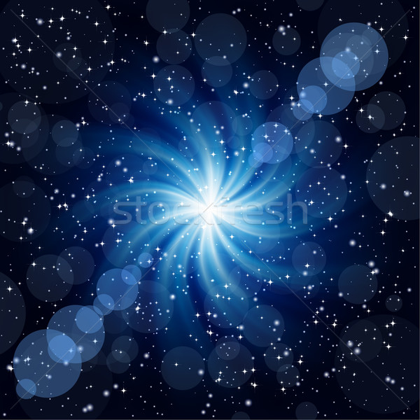 Dark blue background with big twirl Star. Stock photo © OlgaYakovenko