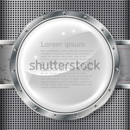 Metal banner with huge space for information. Fully editable. Stock photo © OlgaYakovenko