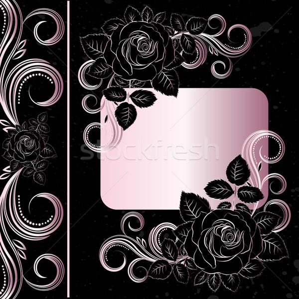 Vetor preto pálido rosa flores decoração Foto stock © OlgaYakovenko