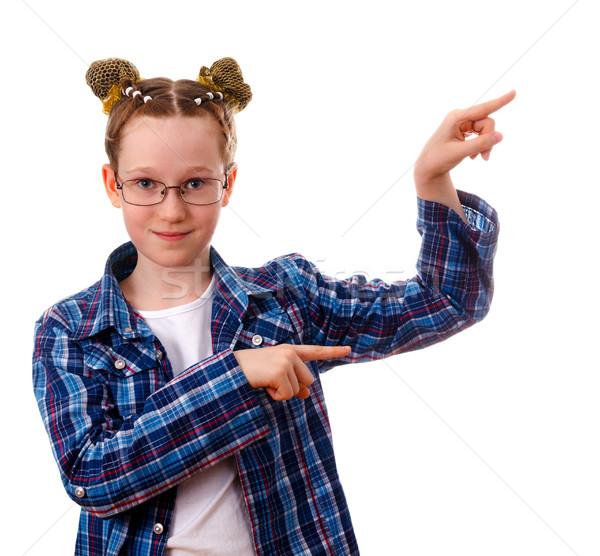 Akıllı çocuk kız işaret bir şey parmak Stok fotoğraf © OlgaYakovenko