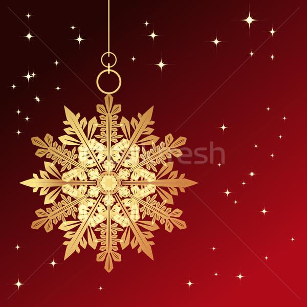 Red card with christmas snowflake Stock photo © OlgaYakovenko