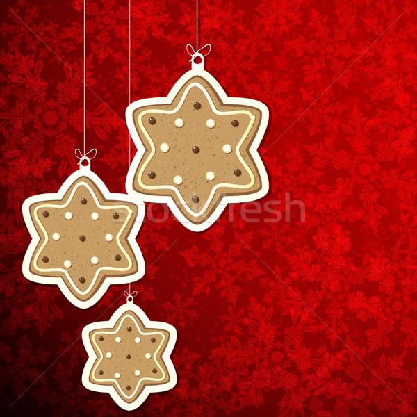 Noel zencefilli çörek Yıldız parti kek ekmek Stok fotoğraf © OlgaYakovenko