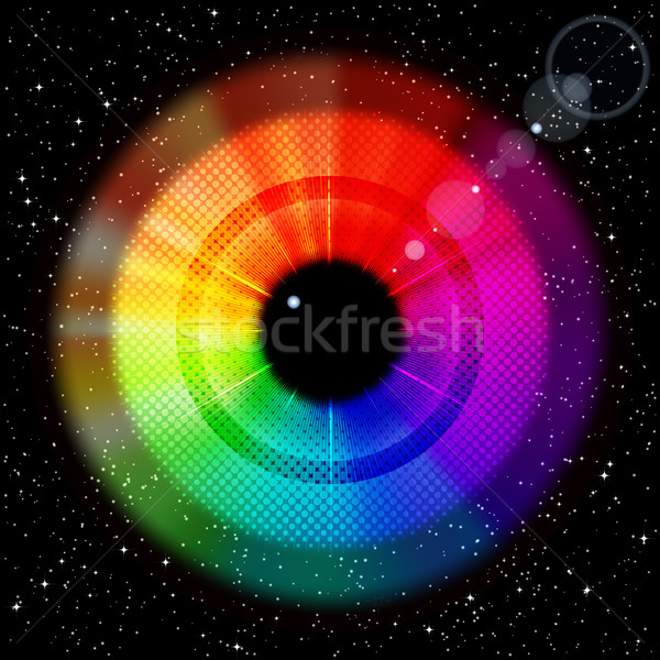 Starry sky with rainbow iris and pupil. Stock photo © OlgaYakovenko